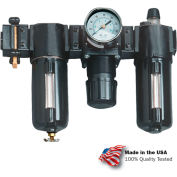 "Arrow 1/2"" Modular FRL W/End Ports VC33354, Gauge, Poly Bowl, Manual & Arrow Fog LUBR, OSHA Valve"
