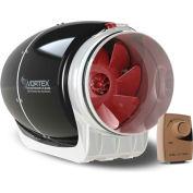 Vortex Powerfan 6'' S-Line en ligne Duct Fan S-600-D - 340 CFM avec le Speed Dial-A-Temp Control Kit