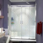 "DreamLine DL-6113R-01CL Visions Shower Door 32"" x 60"" Shower Base Right Drain & QWALL-5 Backwalls"