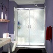 """DreamLine DL-6114C-01CL Visions Shower Door 34"""" x 60"""" Shower Base Center Drain & QWALL-5 Backwalls"""