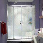 """DreamLine DL-6114L-01CL Visions Shower Door 34"""" x 60"""" Shower Base Left Drain & QWALL-5 Backwalls"""