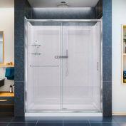 "DreamLine DL-6116C-01CL Infinity-Z Shower Door 30"" x 60"" Shower Base Center Drain QWALL-5 Backwalls"