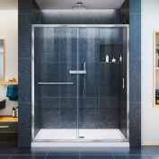 """DreamLine DL-6970C-01CL Infinity-Z Sliding Shower Door & SlimLine 30"""" x 60"""" Shower Base Center Drain"""