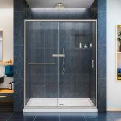 """DreamLine DL-6971C-04CL Infinity-Z Sliding Shower Door & SlimLine 32"""" x 60"""" Shower Base Center Drain"""