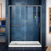 """DreamLine DL-6972L-04CL Infinity-Z Sliding Shower Door & SlimLine 34"""" x 60"""" Shower Base Left Drain"""