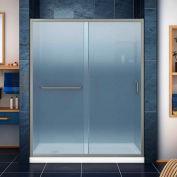 """DreamLine DL-6972L-04FR Infinity-Z Sliding Shower Door & SlimLine 34"""" x 60"""" Shower Base Left Drain"""
