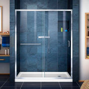 """DreamLine DL-6972R-01CL Infinity-Z Sliding Shower Door & SlimLine 34"""" x 60"""" Shower Base Right Drain"""