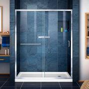 """DreamLine DL-6973R-01CL Infinity-Z Sliding Shower Door & SlimLine 36"""" x 60"""" Shower Base Right Drain"""