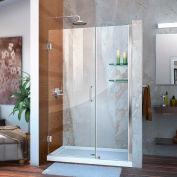 """Porte de douche réglable sans cadre de DreamLine™ Unidoor son-20427210CS-01, étagères en verre, 42""""-43»"""