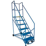 "70"" Stairway Slope Rolling Ladder - 7 Step - 50 Degree - 400 Lb. Capacity - Blue"