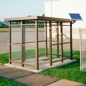 Heavy Duty fumer abribus solaire LED, plat, côté 3, Front ouvert, 5' X 10', Bronze
