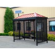 Heavy Duty fumer abribus avec LED solaire, hanche, 4-côté, devant droit ouvert, 5' X 10', kaki