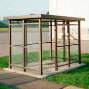 Heavy Duty Bus, abri fumeur toit plat 3-face avant ouverte 6' x 12' Bronze