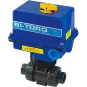 "BI-TORQ 1/2"" 3-Way PVC Ball Valve W/ NEMA 4 115VAC/4-20mA Positioner"