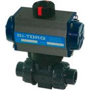 """BI-TORQ 1/2"""" 3-Way PVC robinet à tournant sphérique W/Spring RET Pneum. actionneur"""