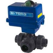 "BI-TORQ 1"" 3-Way L-Port PVC Ball Valve W / NEMA 4 115VAC/4-20mA positionneur"