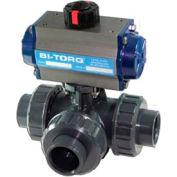 "BI-TORQ 1-1/2"" 3-Way L-Port PVC Ball Valve W/Spring Ret. Pneum. Actuator"