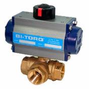 """BI-TORQ 1"""" 3-Way T-Port laiton TNP robinet à tournant sphérique W/Spring RET Pneum. actionneur"""