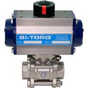 Actionneur pneumatique BI-TORQ, 3/8 po, acier inoxydable, robinet à bille NPT, 3 pièces, avec rappel par ressort