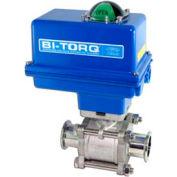 "BI-TORQ 2"" 3-Pc SS Sanitary Clamp End Ball Valve W/NEMA 4 115VAC/4-20mA Positioner"