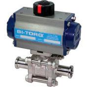 """BI-TORQ 4"""" 3-Pc SS pince sanitaire fin robinet à tournant sphérique W/Spring RET Pneum. actionneur"""