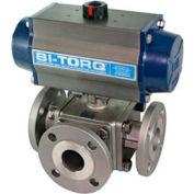 """BI-TORQ 3/4"""" 3-Way L-Port SS # 150 bridé robinet à tournant sphérique W/Spring RET Pneum. actionneur"""