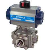 "BI-TORQ 3/4"" 3-Way T-Port SS NPT Threaded Ball Valve W/Dbl. Acting Pneum. Actuator"