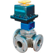 "BI-TORQ 3/4"" 3-Way T-Port SS 150# brides Ball Valve 115VAC W/NEMA 4"
