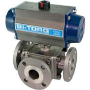 """BI-TORQ 1"""" 3-Way T-Port SS # 150 bridé robinet à tournant sphérique W/Spring RET Pneum. actionneur"""