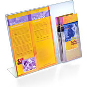 """Azar Displays 252056, L-Shaped Acrylic Sign HLR W/Trifold Brochure Pocket, 14""""W x 11""""H"""