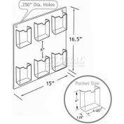 "Azar Displays 252066 6-Pocket Wall Mount Brochure Holder, 14.5"" x 16"""