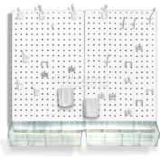 Azar Displays 900945-WHT Pegboard Room Organizer Kit, Hardware Included, White Opaque ,1 Piece
