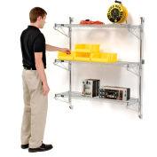 "Nexel® Chrome Wall Mount Wire Shelving 60""W x 14""D x 54""H 3 - Shelf Starter"