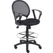 Boss Mesh Drafting Stool with Fixed Armrest - Fabric - Black
