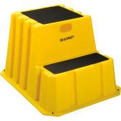 Marchepied emboîtable à2 marches, 25-3/4 po l x 32-3/4 po P x 20-1/2 po H, plastique, jaune – NST-2-14