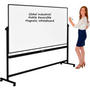 Global Industrial™ Mobile Reversible Whiteboard - 96 x 48 - Steel - Black Frame