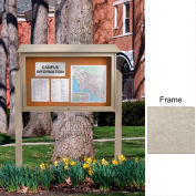 "United Visual Products 45""W x 36""H Cork Top-Hinged Single Door Message Center with Light Gray Frame"
