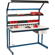 """Global Industrial™ Bench-In-A-Box Cantilever Workbench, ESD Laminate Top, 60""""Wx30""""D, Blue"""