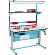 """Global Industrial™ Bench-In-A-Box Ergonomic Workbench, Plastic Laminate Top, 60""""Wx30""""D, Blue"""