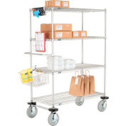 "Nexel® Curbside Truck, Chrome, 24""L x 24""W x 72""H, 4 Wire Shelves, Pneumatic Casters"
