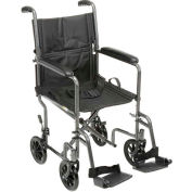 "Lightweight Steel Transport Wheelchair, 19""W Seat, Silver Vein Frame and Black Upholstery"