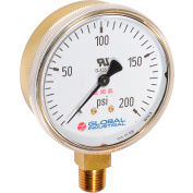 "Global Industrial™ 2.5"" Type 111.11 30PSI Gauge - 1/4"" NPT LM Polished Brass"