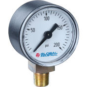 "Global Industrial™ 4"" Type 111.10 30INHG/KPA VAC Gauge - 1/4"" NPT LM Plastic"