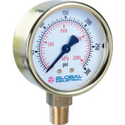 "Global Industrial™ 2.5"" Type 111.10 15PSI/KPA Gauge - 1/4"" NPT LM Polished Brass"