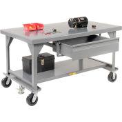 """Little Giant®  Mobile Heavy Duty, 7 Gauge, Steel Workbench  - 60""""W x 36""""D x 34""""H"""
