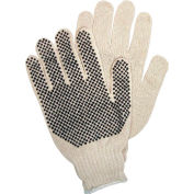 PVC Dot String Knit Gloves, 1-Side PVC Dots, Memphis Glove 9650LM, 12-Pair
