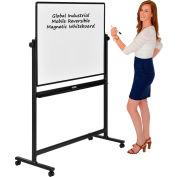 Global Industrial™ Mobile Reversible Whiteboard - 48 x 36 - Steel - Black Frame