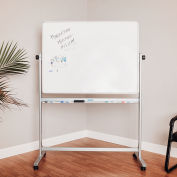 Global Industrial™ Mobile Reversible Whiteboard - 48 x 36 - Steel - Silver Frame