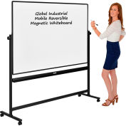 Global Industrial™ Mobile Reversible Whiteboard - 72 x 48 - Steel - Black Frame