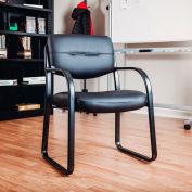 Chaise de salle d'attente avec bras - cuir - noir